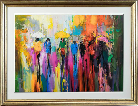 'FIRST DAY OF SUMMER' Laminated Giclee Print Framed Ready To Hang - Eva Czarniecka Umbrella Oil paintings Rain London Streets Pallets Knife Limited Edition Prints Impressionism Art Contemporary