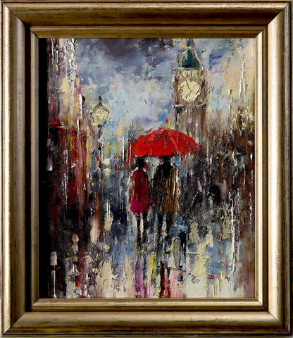'London at Night' Original Oil Painting on Canvas Ready to Hang Framed FREE SHIPPING - Eva Czarniecka Umbrella Oil paintings Rain London Streets Pallets Knife Limited Edition Prints Impressionism Art Contemporary