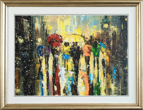 'Westminster in Snow' Open Edition Print Framed Ready To Hang - Eva Czarniecka Umbrella Oil paintings Rain London Streets Pallets Knife Limited Edition Prints Impressionism Art Contemporary
