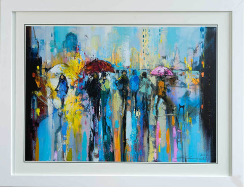 'Early Morning in The City'Laminated Giclee Print Framed Ready To Hang - Eva Czarniecka Umbrella Oil paintings Rain London Streets Pallets Knife Limited Edition Prints Impressionism Art Contemporary