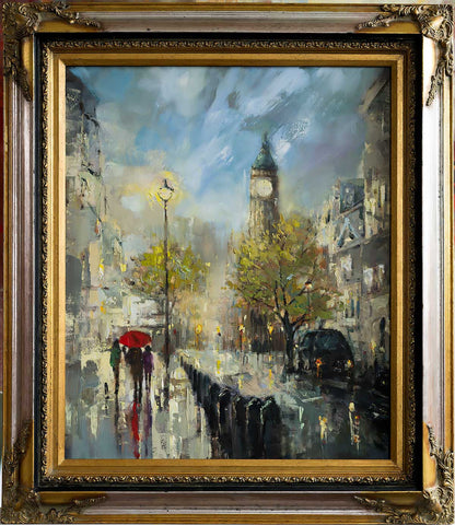 'Rainy London' Original Oil Painting on Canvas Ready to Hang, Framed - Eva Czarniecka Umbrella Oil paintings Rain London Streets Pallets Knife Limited Edition Prints Impressionism Art Contemporary