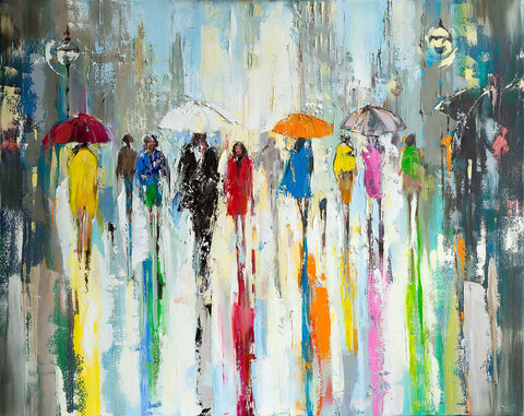 'Evening Lights' 2017) Oil Picture Ready To Hang - Eva Czarniecka Umbrella Oil paintings Rain London Streets Pallets Knife Limited Edition Prints Impressionism Art Contemporary