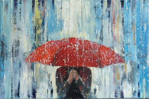 'Behind Red Umbrella' Modern Oil Painting, Canvas Ready to Hang, (Reserved for Steve) - Eva Czarniecka Umbrella Oil paintings Rain London Streets Pallets Knife Limited Edition Prints Impressionism Art Contemporary