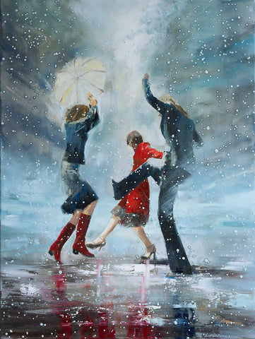 'Dance in the Snow' (2017) Oil on Canvas Ready to Hang - Eva Czarniecka Umbrella Oil paintings Rain London Streets Pallets Knife Limited Edition Prints Impressionism Art Contemporary