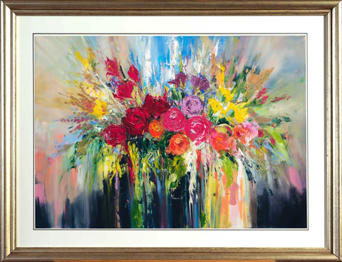 'Full Of Flowers' Laminated Giclee Print Framed Ready To Hang - Eva Czarniecka Umbrella Oil paintings Rain London Streets Pallets Knife Limited Edition Prints Impressionism Art Contemporary