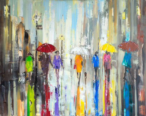 'London Lights' Modern Oil Painting, Canvas Ready to Hang,Reserved - Eva Czarniecka Umbrella Oil paintings Rain London Streets Pallets Knife Limited Edition Prints Impressionism Art Contemporary