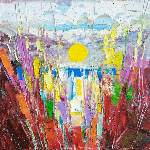 'Sunset II' (2017 )Oil on Canvas ,Framed ,Ready to Hang - Eva Czarniecka Umbrella Oil paintings Rain London Streets Pallets Knife Limited Edition Prints Impressionism Art Contemporary