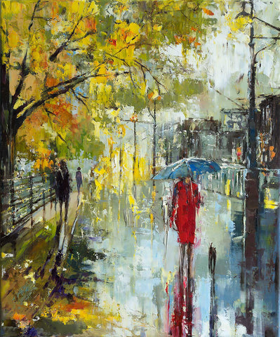 'Notting Hill-London' (2017) Oil Picture Ready to Hang - Eva Czarniecka Umbrella Oil paintings Rain London Streets Pallets Knife Limited Edition Prints Impressionism Art Contemporary