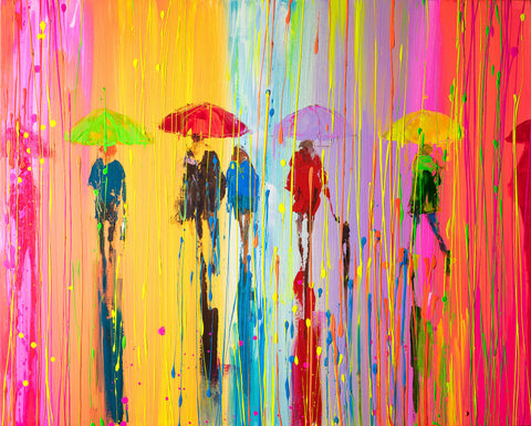 'Summer Breeze I' Picture Ready To Hang - Eva Czarniecka Umbrella Oil paintings Rain London Streets Pallets Knife Limited Edition Prints Impressionism Art Contemporary