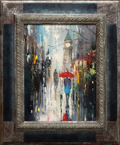 'Evening Stroll in Westminster'  (2017) Oil Painting on Canvas Framed Ready to Hang - Eva Czarniecka Umbrella Oil paintings Rain London Streets Pallets Knife Limited Edition Prints Impressionism Art Contemporary
