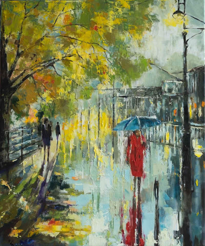'Notting Hill-London II' (2017) Oil Picture Ready to Hang (Commission/Reserved) - Eva Czarniecka Umbrella Oil paintings Rain London Streets Pallets Knife Limited Edition Prints Impressionism Art Contemporary