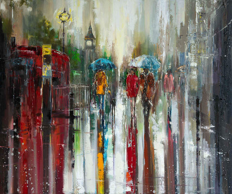 'Love Affair in London'  HAND EMBELLISHED Limited Edition Print Ready To Hang - Eva Czarniecka Umbrella Oil paintings Rain London Streets Pallets Knife Limited Edition Prints Impressionism Art Contemporary