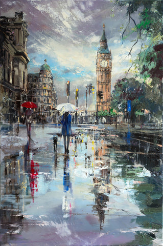 'London Reflections' Original Oil Painting on Canvas Ready to Hang - Eva Czarniecka Umbrella Oil paintings Rain London Streets Pallets Knife Limited Edition Prints Impressionism Art Contemporary