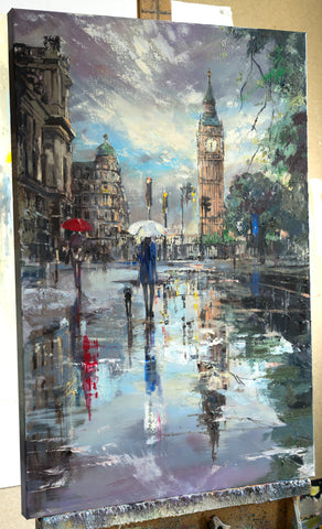 'London Reflections'  Limited Edition Print - Eva Czarniecka Umbrella Oil paintings Rain London Streets Pallets Knife Limited Edition Prints Impressionism Art Contemporary