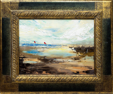 'Surfing' (2017) Oil Painting Framed Ready To Hang
