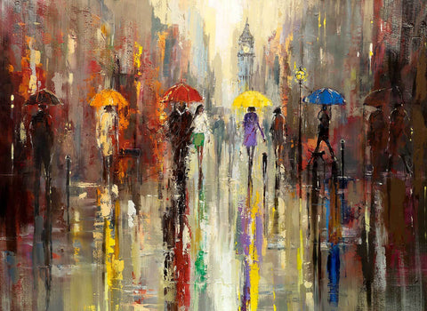 'AUTUMN REFLECTIONS' Hand Embellished Limited Edition Print on Canvas - Eva Czarniecka Umbrella Oil paintings Rain London Streets Pallets Knife Limited Edition Prints Impressionism Art Contemporary