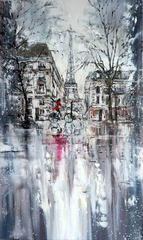 'WINTER IN PARIS' Limited Edition Print - Eva Czarniecka Umbrella Oil paintings Rain London Streets Pallets Knife Limited Edition Prints Impressionism Art Contemporary
