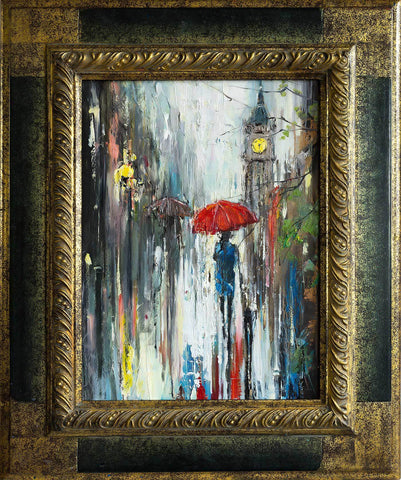 'Evening Stroll II' (2017) Oil Painting on Canvas Framed Ready to Hang - Eva Czarniecka Umbrella Oil paintings Rain London Streets Pallets Knife Limited Edition Prints Impressionism Art Contemporary