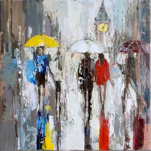 'Winter Reflection'  Oil Painting on Canvas, Ready to Hang - Eva Czarniecka Umbrella Oil paintings Rain London Streets Pallets Knife Limited Edition Prints Impressionism Art Contemporary
