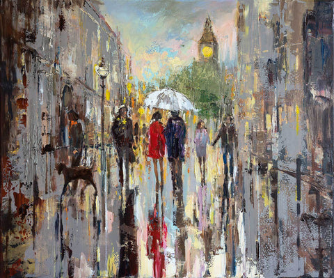 'Out for a Walk' Oil Painting on Canvas, Ready to Hang - Eva Czarniecka Art