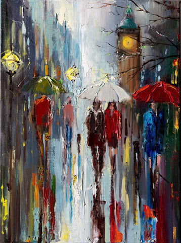 'Ordinary Day' Oil Painting on Canvas, Ready to Hang - Eva Czarniecka Umbrella Oil paintings Rain London Streets Pallets Knife Limited Edition Prints Impressionism Art Contemporary