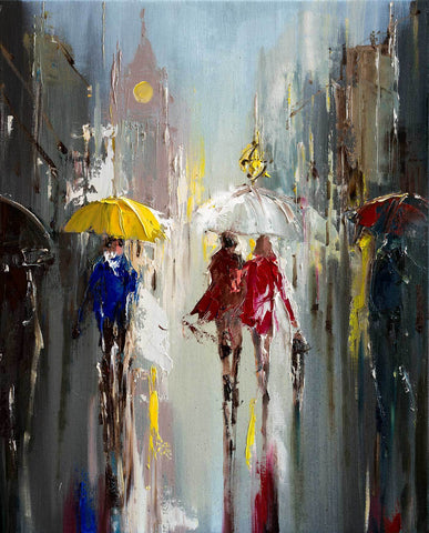 'Rainy Winter Day' Oil Painting on Canvas, Ready to Hang - Eva Czarniecka Umbrella Oil paintings Rain London Streets Pallets Knife Limited Edition Prints Impressionism Art Contemporary