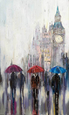 'A Day in London' Oil Painting Ready To Hang - Eva Czarniecka Umbrella Oil paintings Rain London Streets Pallets Knife Limited Edition Prints Impressionism Art Contemporary
