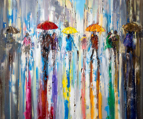 'Reflecting Breeze' Large Oil Painting Ready to Hang - Eva Czarniecka Umbrella Oil paintings Rain London Streets Pallets Knife Limited Edition Prints Impressionism Art Contemporary