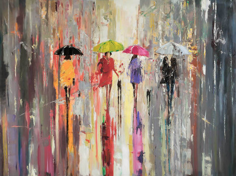 'Out in The Rain II'(2018) Oil Picture Reserved (Commission for Lars) - Eva Czarniecka Umbrella Oil paintings Rain London Streets Pallets Knife Limited Edition Prints Impressionism Art Contemporary