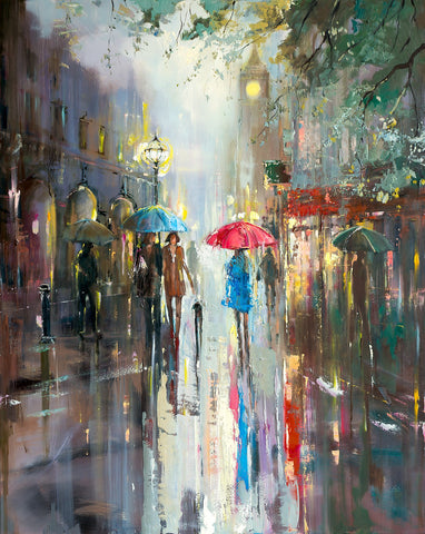 'Lost in London'  (2018) Oil Painting on Canvas Ready to Hang - Eva Czarniecka Umbrella Oil paintings Rain London Streets Pallets Knife Limited Edition Prints Impressionism Art Contemporary
