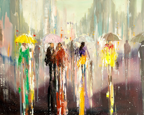 'Rainy Stroll' Oil Painting Ready To Hang - Eva Czarniecka Art