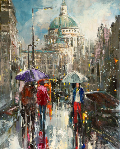 'Winter Day in St.Paul's' Oil Painting on Canvas, Ready to Hang - Eva Czarniecka Art