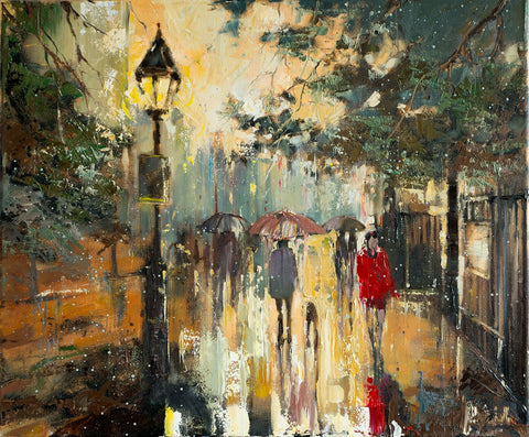 'Evening in Hyde Park'  Painting on Canvas, Ready to Hang - Eva Czarniecka Umbrella Oil paintings Rain London Streets Pallets Knife Limited Edition Prints Impressionism Art Contemporary