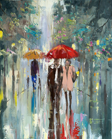 'A stroll in the park'Oil Painting on Canvas, Ready to Hang - Eva Czarniecka Umbrella Oil paintings Rain London Streets Pallets Knife Limited Edition Prints Impressionism Art Contemporary