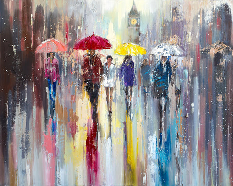'Rainy April in London' Oil Painting Ready To Hang - Eva Czarniecka Art