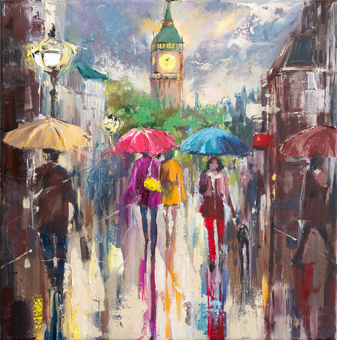 'After the Storm' Oil Painting - Eva Czarniecka Umbrella Oil paintings Rain London Streets Pallets Knife Limited Edition Prints Impressionism Art Contemporary