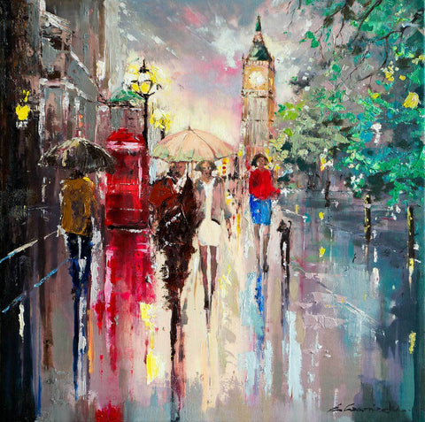 'Summer in Westminster' Oil Painting (Reserved) - Eva Czarniecka Umbrella Oil paintings Rain London Streets Pallets Knife Limited Edition Prints Impressionism Art Contemporary