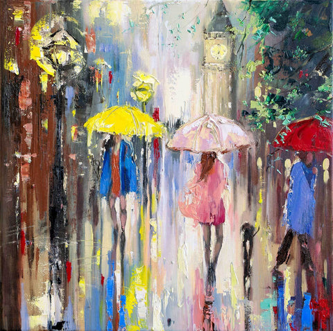 'Girl in Pink' Oil Painting - Eva Czarniecka Umbrella Oil paintings Rain London Streets Pallets Knife Limited Edition Prints Impressionism Art Contemporary