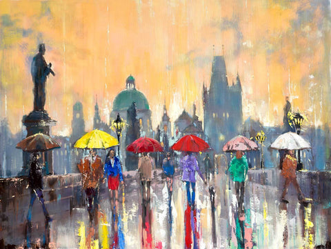 'Summer in Prague' Large Oil Painting Commission/Reserved - Eva Czarniecka Art