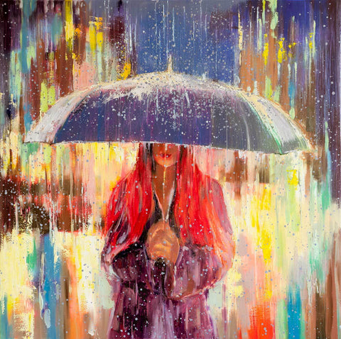 'Gone with the Rain' Oil Painting Ready to Hang - Eva Czarniecka Umbrella Oil paintings Rain London Streets Pallets Knife Limited Edition Prints Impressionism Art Contemporary