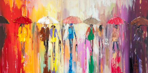 'After the Summer Storm' Oil Painting Ready to Hang - Eva Czarniecka Umbrella Oil paintings Rain London Streets Pallets Knife Limited Edition Prints Impressionism Art Contemporary