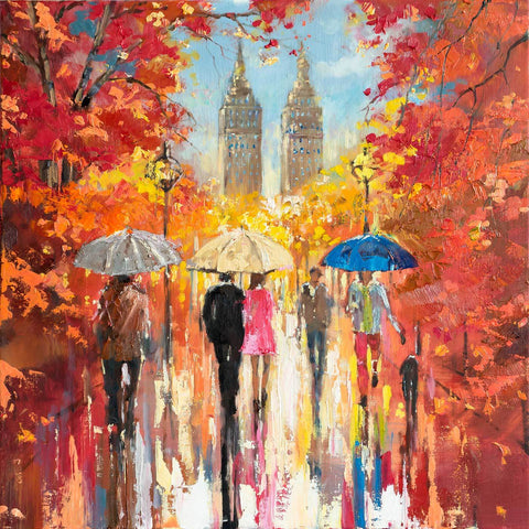 'Autumn in Central Park' Oil Painting Commission/Sold - Eva Czarniecka Umbrella Oil paintings Rain London Streets Pallets Knife Limited Edition Prints Impressionism Art Contemporary