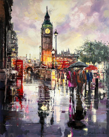 'WHEN THE RAIN COMES' Hand Embellished Limited Edition Print on Canvas - Eva Czarniecka Umbrella Oil paintings Rain London Streets Pallets Knife Limited Edition Prints Impressionism Art Contemporary