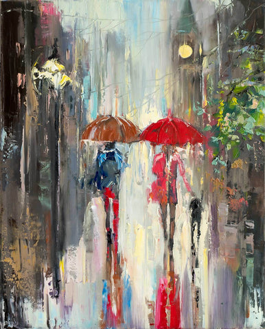 'Night Stroll' Oil Painting on Canvas, Ready to Hang - Eva Czarniecka Umbrella Oil paintings Rain London Streets Pallets Knife Limited Edition Prints Impressionism Art Contemporary