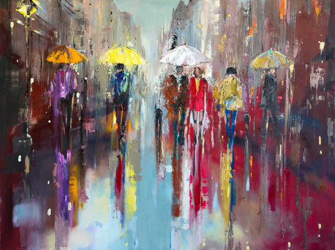 'Regent Street, London' Large Oil Painting Ready To Hang - Eva Czarniecka Umbrella Oil paintings Rain London Streets Pallets Knife Limited Edition Prints Impressionism Art Contemporary