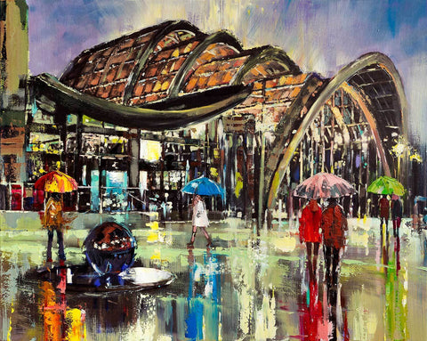 'Sheffield Winter Garden'  Oil Picture Commission/Reserved - Eva Czarniecka Umbrella Oil paintings Rain London Streets Pallets Knife Limited Edition Prints Impressionism Art Contemporary