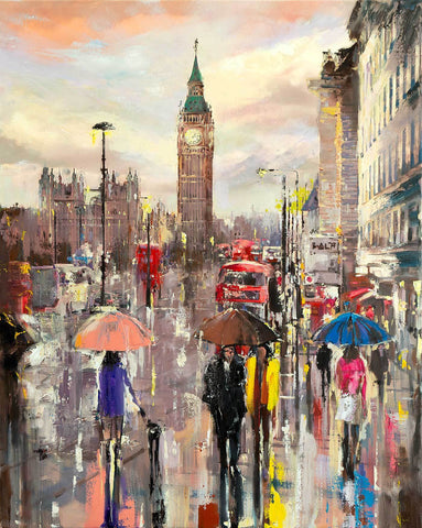 'LATE SUMMER' 2018  Hand Embellished Limited Edition Print on Canvas - Eva Czarniecka Umbrella Oil paintings Rain London Streets Pallets Knife Limited Edition Prints Impressionism Art Contemporary