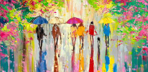 'Sunny Day in Hyde Park' Oil Painting Ready to Hang - Eva Czarniecka Umbrella Oil paintings Rain London Streets Pallets Knife Limited Edition Prints Impressionism Art Contemporary