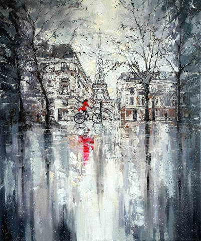 'Winter day in Paris II' Commission - Eva Czarniecka Umbrella Oil paintings Rain London Streets Pallets Knife Limited Edition Prints Impressionism Art Contemporary