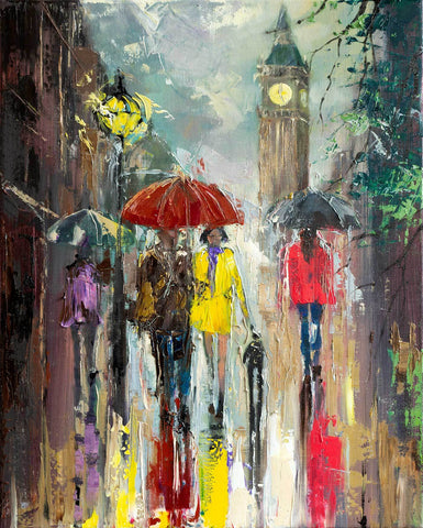 'Reflections' Oil Painting on Canvas, Ready to Hang - Eva Czarniecka Umbrella Oil paintings Rain London Streets Pallets Knife Limited Edition Prints Impressionism Art Contemporary